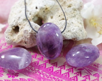 Natural Amethyst stone drilled pendant