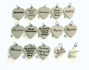 Grandmother Charm, Add on to any of my listings 1 single Pendant, Silver Grandma Mimi Grammy, Much Loved Nana, World's Best Granny Jewelry