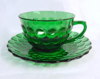 Anchor Hocking Forest Green Bullseye Bubble Glass Cup & Saucer Fire King