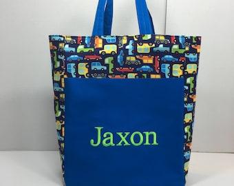 Personalized Toddler Tote Bag, Pre K Tote bag, Preschool Tote Bag, Kindergarten Bag, Car Tote bag, Kids Tote Bag