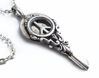 Key to Peace - Recycled Key Pendant - Key Necklace Handmade Jewelry
