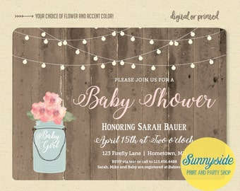 Rustic Baby Girl Shower Invitation with barnwood lights and mason jar, printable or printed invitations in blush pink