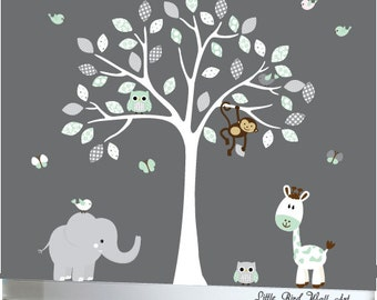 White decal tree nursery jungle wall decals nursery jungle animals