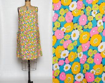 vintage 1960s maternity dress   colorful mod floral print tent dress   60s jumper with pockets