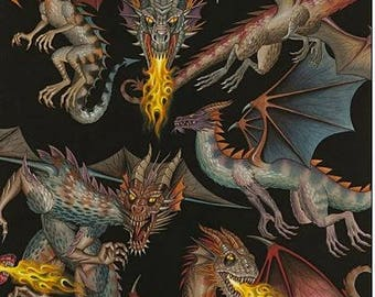 Dragon fabric, Alexander Henry Tale of the dragon, dragons on  black Free Domestic Ship over 50