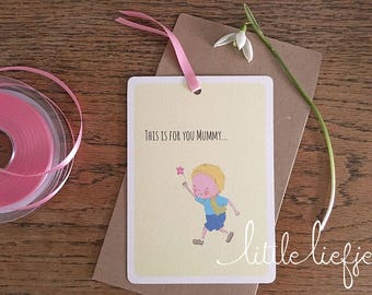 This Is For You Mummy, Mother's Day Card, Happy Mother's Day, Postcard, Pink Flower, Boy Illustration