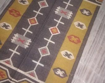 Kilim Rug 4x6 Feet Handmade Woven Rug Vintage Area Floor Rug Garden Beach Rug Grey Mix Rug Wool Jute kelim Boho Rug Mat