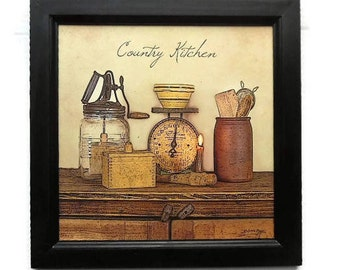 Country Kitchen, Primitive Home Decor, Kitchen Decor, Home Decor, Wall Hanging, Art Print, Handmade, 14x14, Custom Wood Frame, Made in USA