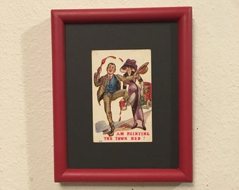 Framed Art, Upcycled Picture Frame Handpainted Red, Vintage Postcard , Quirky Art , Vintage Decor , One of a Kind