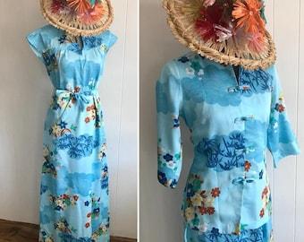 Adorable Vintage Two Piece Hawaiian Dress and Teatimer-Jacket Set -- Nani of Hawaii