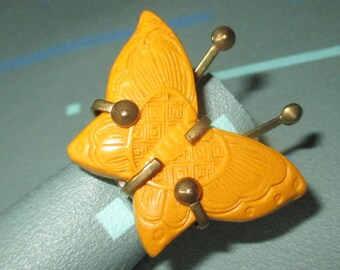 FAB Carved Yellow Cinnabar Butterfly Adjustable Statement Ring Signed Jan Michaels San Francisco