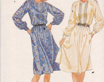 Butterick 4080 Vintage Pattern Womens Loose Fitting Pull Over Dress  in 2 Variations Size 10