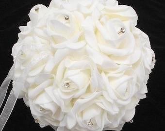 Ivory 15cm/20cm Diamante Wedding Flowers artificial roses pomander kissing ball bridesmaid silk flower