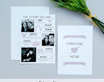 Save the Date | Love story timeline save the date | Wedding invitation save the date | Classic wedding invite