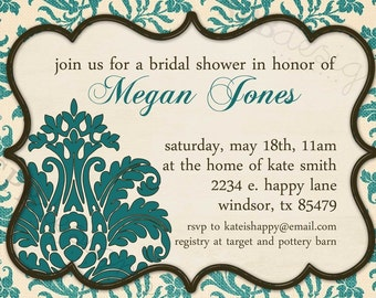 Bridal Shower Invitation -- Textile Blue