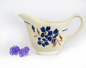 Antique French Jug White Tea stained  Ironstone Milk Jug and Creamer White and Blue Pattern BADONVILLIER