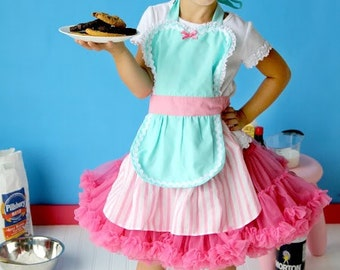 apron for kids RETRO apron in aqua and pink childrens full apron birthday kids gift 50s inspired