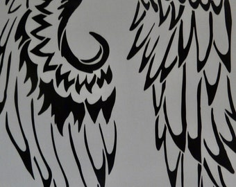 WINGS feather feathery   Stencil Girl laser cut stencil  9 x 12
