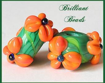 Tangerine & Green Floral Glass Bead Pair...Handmade Lampwork Beads SRA, Made To Order