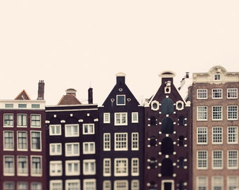 "Canal Houses, Amsterdam Photography, Large Wall Art Print, Scandinavian Print,Travel Photography Print,Fine Art Photography ""Crooked Houses"""