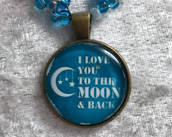 I love you to the moon and back bead woven necklace