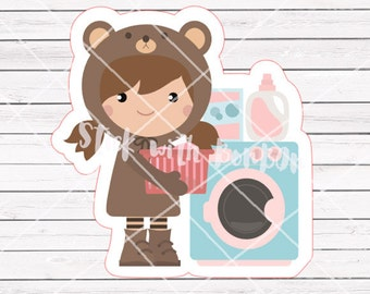 Toffee the Bear Girl LAUNDRY DAY planner stickers || Erin Condren Life Planner, Kikki K, Plum Paper Planner