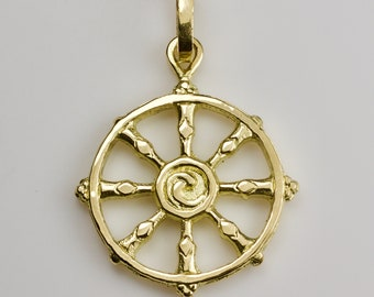 Pendentif roue de Dharma - grand or