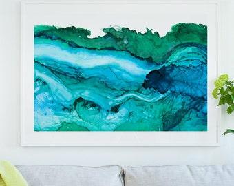 Undercurrent Ventura: Framed Art Print, Ocean Art, Surf Watercolor, Abstract Watercolor, large art