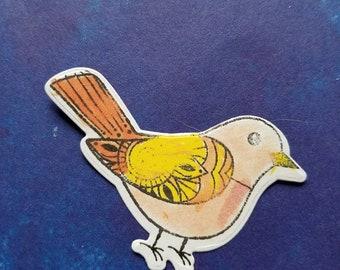 Bird Diecut | Custom, Hand Colored | Planner, TN, Travelers NotebookBujo, Bullet Journal, Greeting Card,| Spring, Summer, Songbird, Die Cut