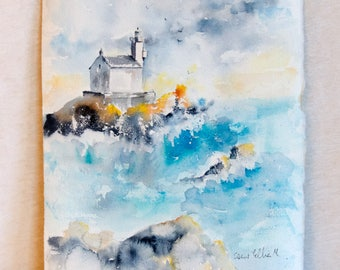 Original watercolor of a lighthouse on the Brittany coast in France - original painting of a lighthouse with  waves on the ocean