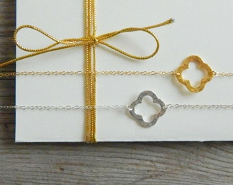 Clover Necklace, Gold Sideways Clover Necklace, Four Leaf Necklace, Good Luck Necklace, Mothers necklace