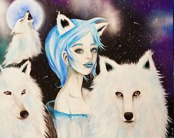 "24"" x 20"" Original Painting Wolves"