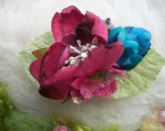 Floral Hair Clip, Flowers, Buds Green Leaves Earthy Floral Fairy Hair Accessory Handmade