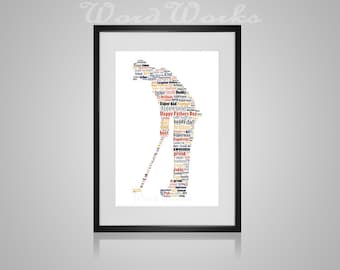 """Personalised Fathers Day """"Golfer"""" Word Art"""
