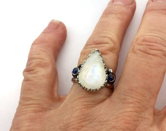 Moonstone ring, Moonstone and Sapphire Ring, Boho ring, Statement Ring
