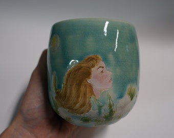 Original Clay Collectible Ceramic Pottery Cup with Woman, Moon, and Moonflowers
