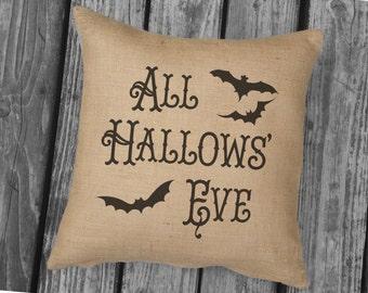 All Hallows Eve Halloween pillow. Burlap Pillow. Halloween Decor. Decorative throw. Halloween Decorations, Vintage Look SPS-155