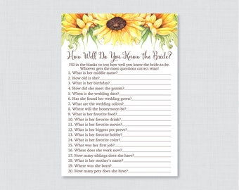 Sunflower Bridal Shower How Well Do You Know the Bride To Be Game - Printable Yellow Bridal Shower Game - Who Knows the Bride Best? 0016-A