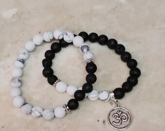 Bracelet Set, Frosted Net Stone and Lava Beads, Birthday, Graduation, Friendship Gift Ideas, Black and White Ohm Charm Bracelet Set - 2 Pcs