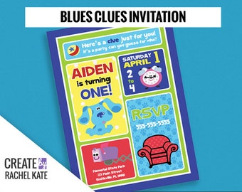 Blues Clues Birthday Party Personalized Printable Invitation Invite Grid | Color - Blue