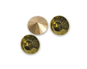 6 x Swarovski Rhinestone Khaki 1028- SS29 (0,24 inch) round conical bottom ss 29