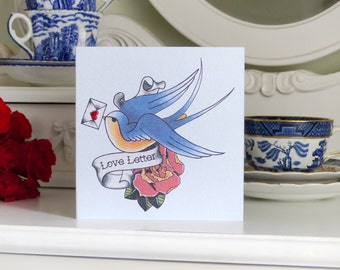 Swallow and rose love letter tattoo handmade Valentine's Day card