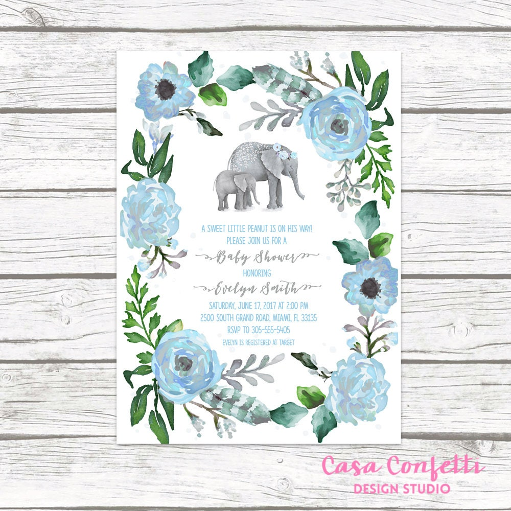 Elephant Baby Shower Invitation Boy, Elephant Invitation, Boho Baby ...