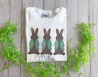 Mr. Cottontail Easter bunny appliqué shirt