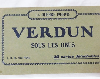 Vintage verdun france la guerre sous les obus postcard book set of 17