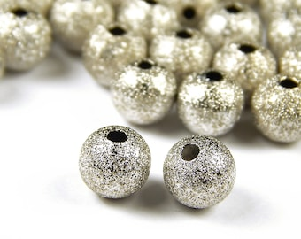 25 Pcs - 8mm Brass Stardust Beads - Platinum - Metal Spacers - Jewelry Supplies