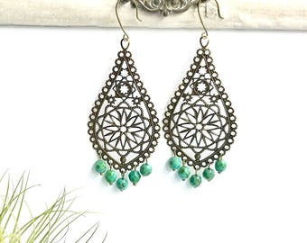 Chandelier Baroque Filigree drop earrings antique brass and Czech beads, turquoise  drop earrings, antique