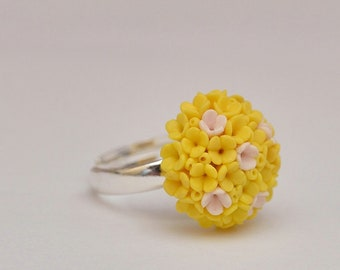 Yellow Lilac Flowers Ring Women Accessory Statement Proposal Ring Finger Decoration Floral Flower Ring Wedding Bridal Mother