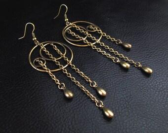 Modern statement earrings, geometric asymmetric shoulder dusters