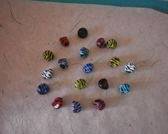 set of 10 Zebra candie 15 x 15 mm acrylic beads